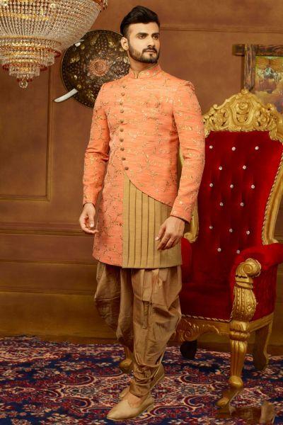 Peach Art Banarasi Silk Indo Western (NMK-3928)