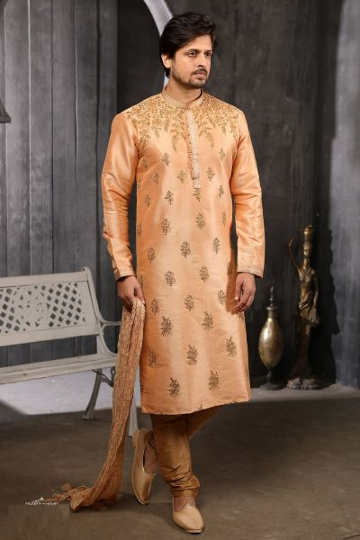Peach Art Banarasi Silk Kurta Pajama (NMK-4376)