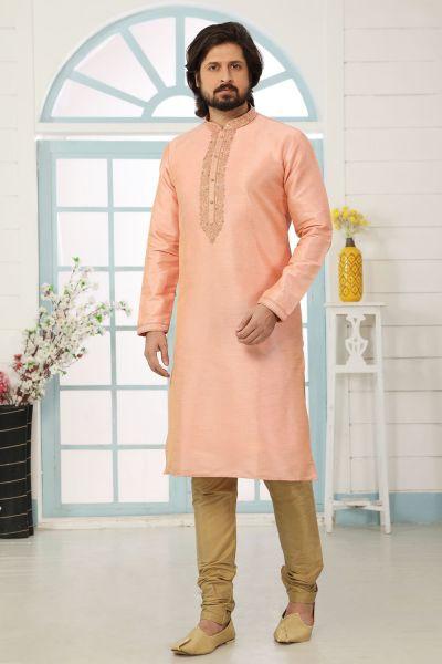 Peach Art Banarasi Silk Kurta Pajama (NMK-5045)