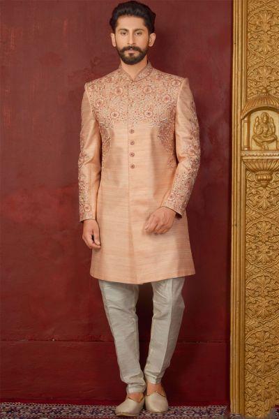 Peach Art Banarasi Silk Mens Indo western (NMK-3847)