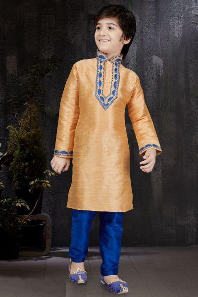 Peach Banarasi Jaquard Kids Kurta (NKK-585)