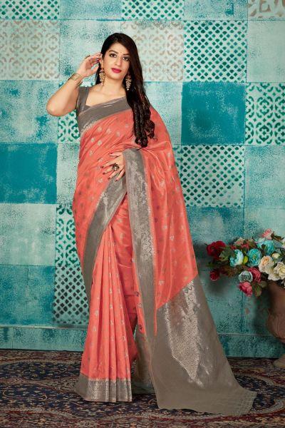 Peach Banarasi Silk Saree (NWSA-4607)