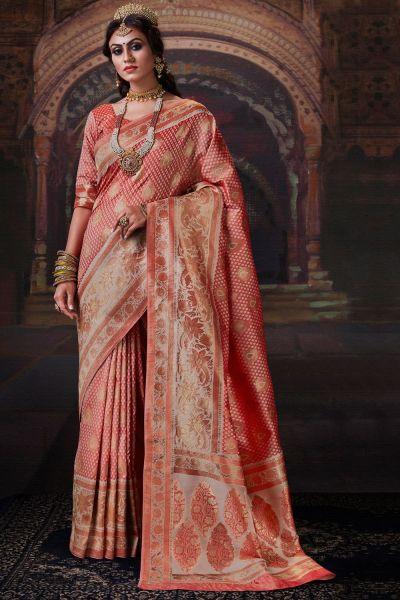 Peach Banarasi Silk Saree (NWSA-5179)