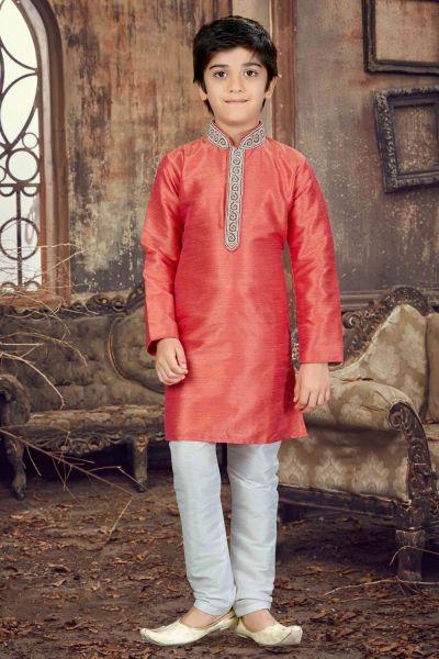 Peach Banglori Silk Boys Kurta Pajama (NKK-630)