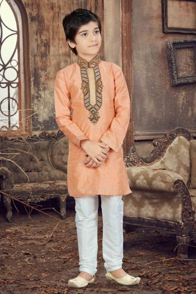 Peach Banglori Silk Kids Kurta Pajama (NKK-627)