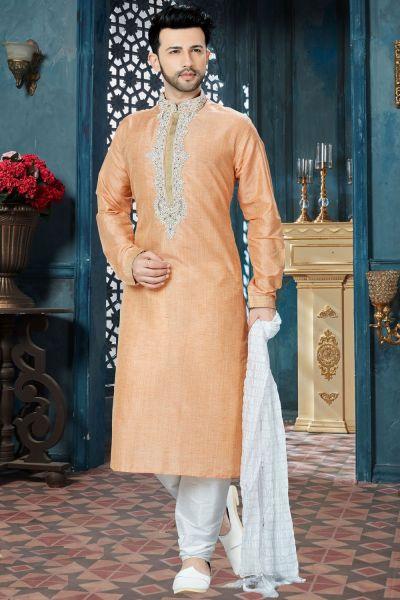 Peach Banglori Silk Kurta Pajama for Men (NMK-3807)