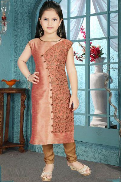 Peach Brocade,Art Silk Girls Salwar Kameez (NFG-213)