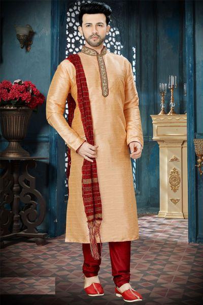 Peach Chanderi Jaquard Designer Kurta Pajama (NMK-3824)