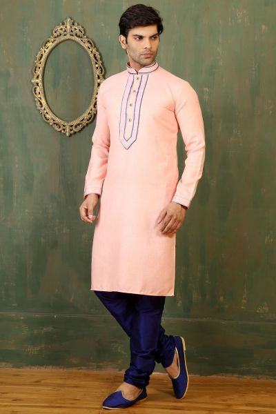 Peach Cotton Linen Kurta Pajama (NMK-3347)