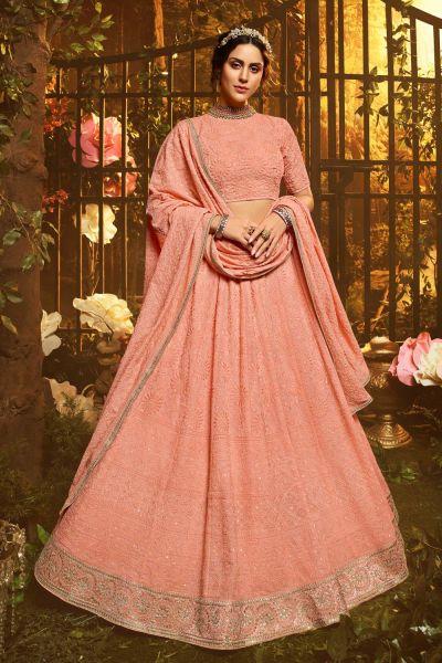 Peach Georgette Lehenga Choli (NWG-527)
