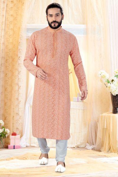 Peach Georgette Lucknowi Kurta Pajama (NMK-4240)