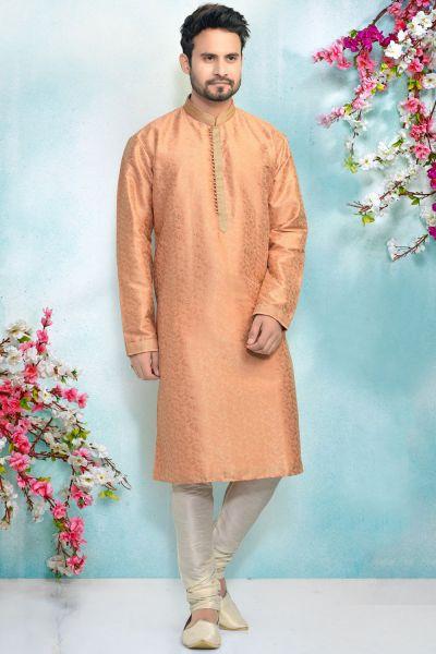 Peach Jaquard Kurta Pajama for Men (NMK-4896)
