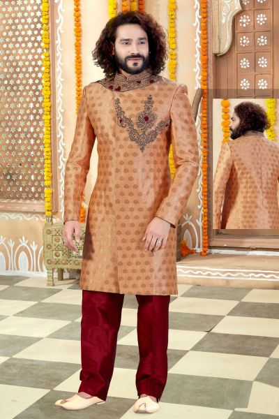 Peach Jaquard Sherwani (NMK-4325)