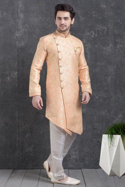 Peach Jaquard Silk Brocade Indo Western Kurta for Mens (NMK-5026)