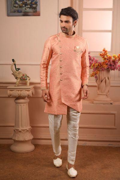 Peach Jaquard Silk Brocade Indo Western (NMK-4464)