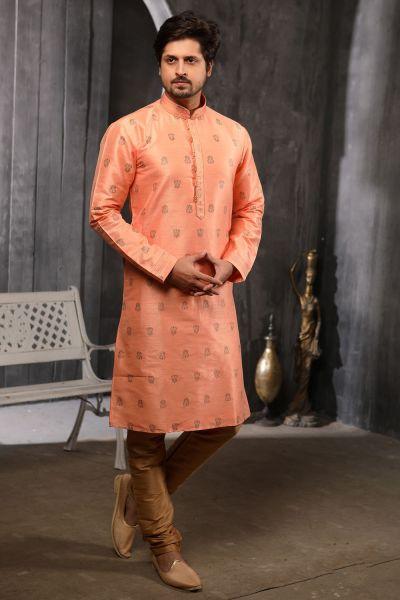 Peach Jaquard Silk Brocade Kurta Pajama (NMK-4503)