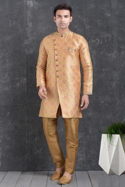 Peach Jaquard Silk Brocade Men Indo Western Kurta (NMK-5022)