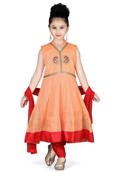 Peach Net Girls Salwar Kameez (NFG-105)