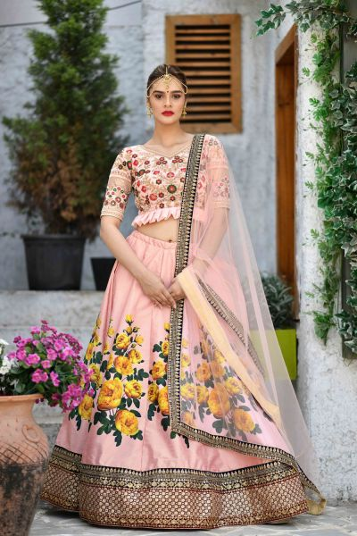 Peach Silk Bollywood Lehenga Choli (NWG-304)
