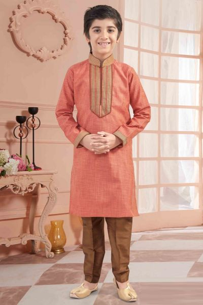 Peach Silk Boys Kurta Pajama (NKK-665)