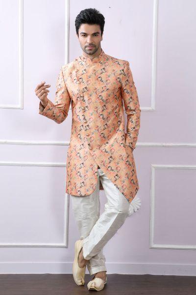 Peach Silk Floral Printed Indo Western Kurta (NMK-4096)
