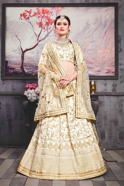 Pearl White Phantom Silk Bridal Lehenga Choli (NWG-301)