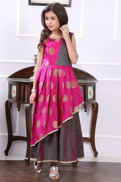 Pink, 2 Toned Brocade, Art Silk Girls Gown (NFG-190)