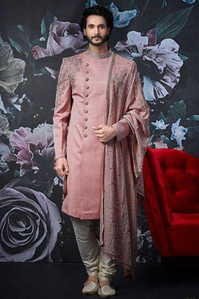 Pink Art Banarasi Silk Indo Western (NMK-4520)