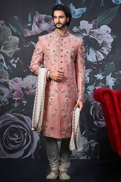Pink Art Banarasi Silk Indo Western (NMK-4537)