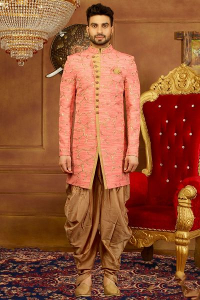 Pink Art Banarasi Silk Mens Indo Western (NMK-3926)