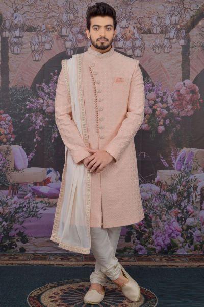 Pink Art Banarasi Silk Sherwani (NMK-4778)