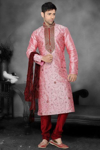 Pink Art Dupion Designer Kurta Pajama (NMK-2178)