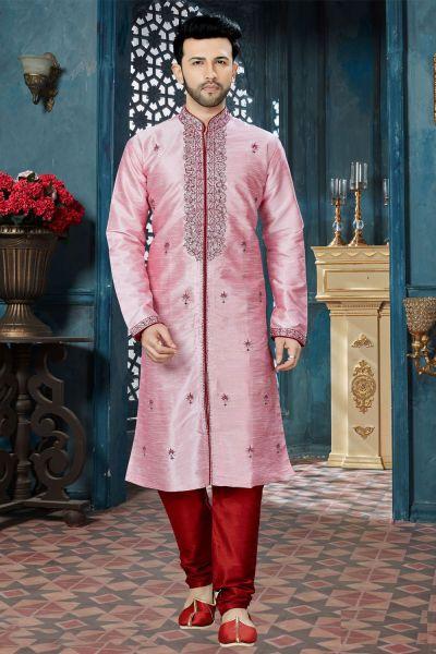 Pink Art Dupion Designer Kurta Pajama (NMK-3825)