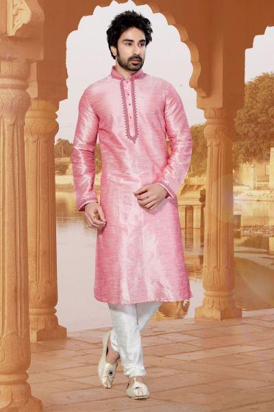 Pink Art Dupion Kurta Pajama (NMK-2943)