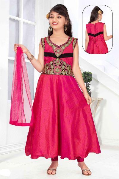 Pink Art Silk Girls Salwar Kameez (NFG-143)