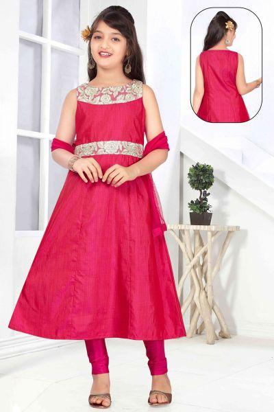 Pink Art Silk Girls Salwar Kameez (NFG-148)