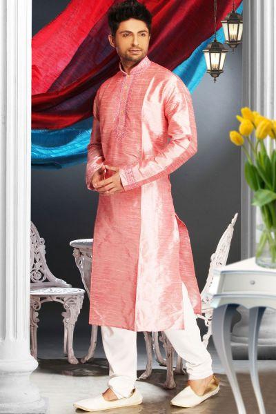 Pink Art Silk Regular Kurta Pajama (NMK-1606)