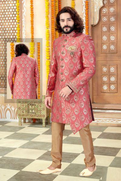 Pink Banarasi Silk Sherwani (NMK-4297)
