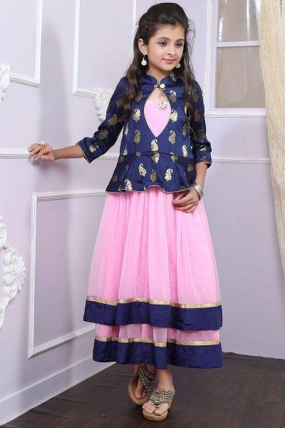 Pink, Blue Net, Brocade Girls Gown (NFG-195)