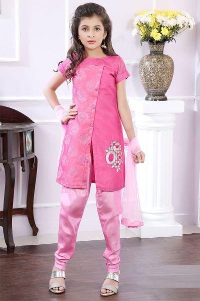 Pink Brocade Girls Salwar Suit (NFG-180)