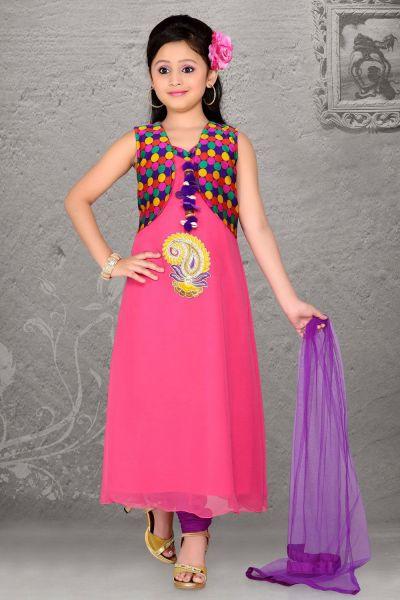 Pink Chiffon Salwar Kameez for Kids (NFG-049)