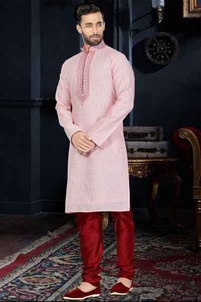Pink Cotton Silk Kurta Pajama (NMK-3405)
