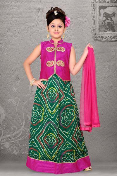 Pink Cotton Velvet Lehenga Choli for Girls (NFG-060)