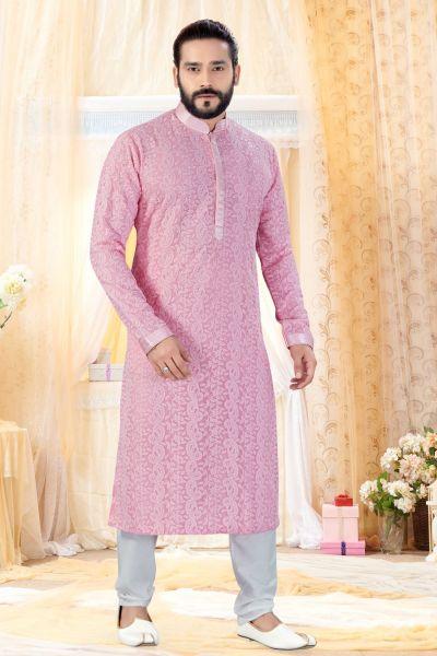 Pink Georgette Lucknowi Kurta Pajama (NMK-4241)
