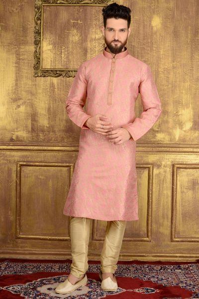 Pink Jaquard Silk Brocade Kurta (NMK-3556)