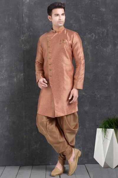 Pink Jaquard Silk Brocade Mens Indo Western Kurta (NMK-4999)