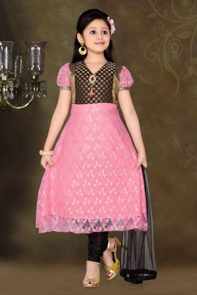 Pink Net Brasso Girls Anarkali Dress (NFG-043)
