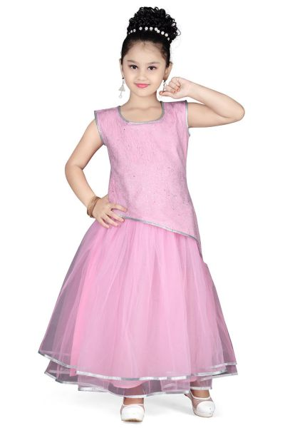 Pink Net Girls Gown (NFG-119)