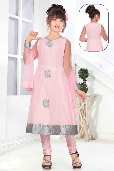 Pink Net Girls Salwar Kameez (NFG-135)