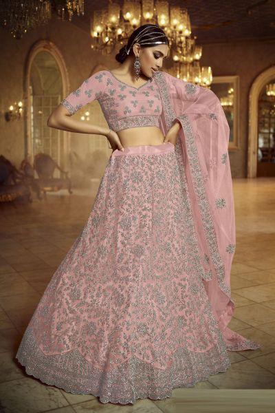 Pink Net Lehenga Choli for Women (NWG-733)